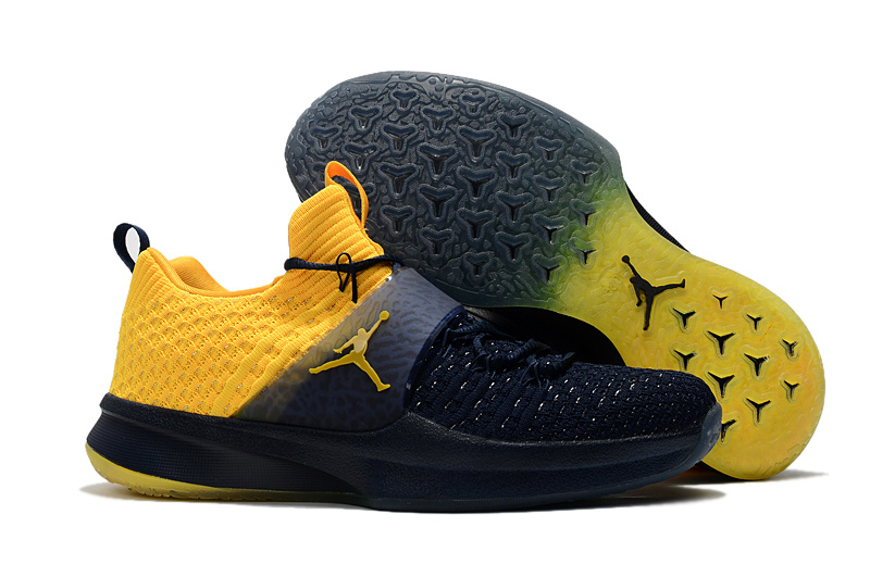 Jordan Trainer 2 Flyknit Michigan College Navy-Amarillo For Sale