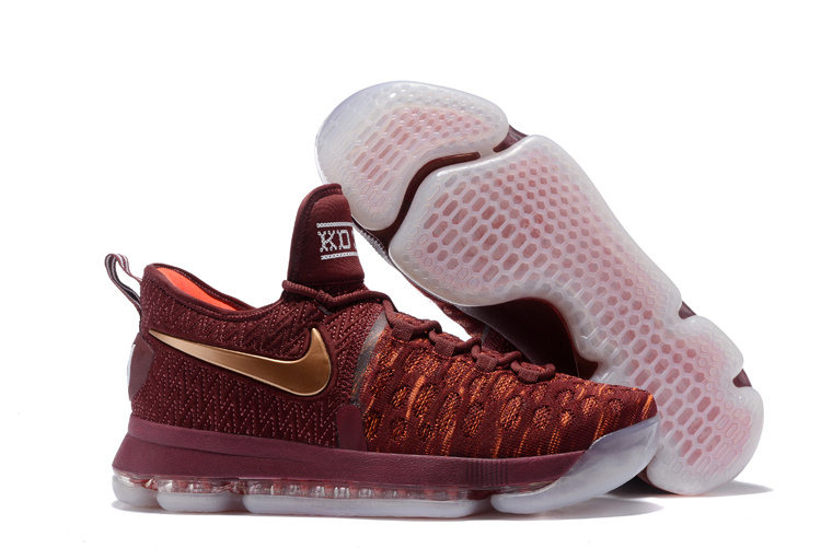KD 9 Christmas The Sauce Deep Burgundy Metallic Red Bronze Mens Basketball Shoes