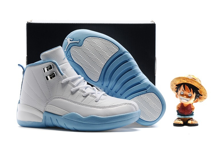 Kids Air Jordan 12 Melo White Metallic Gold-University Blue