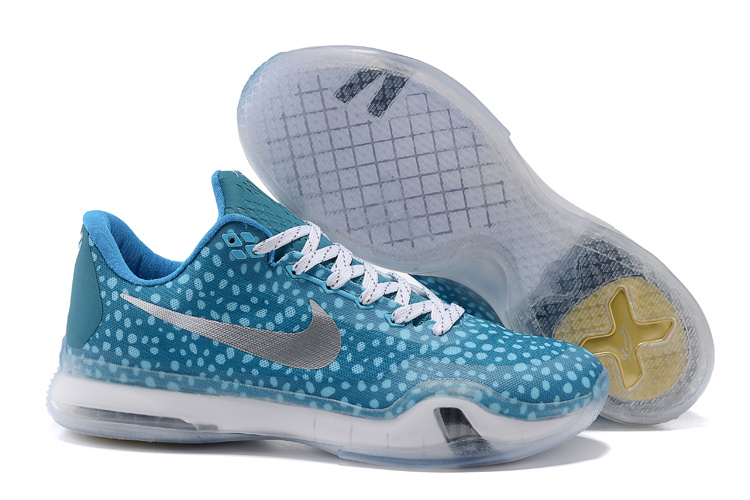 Kobe 10 Safari Print Light Blue Silver For Sale