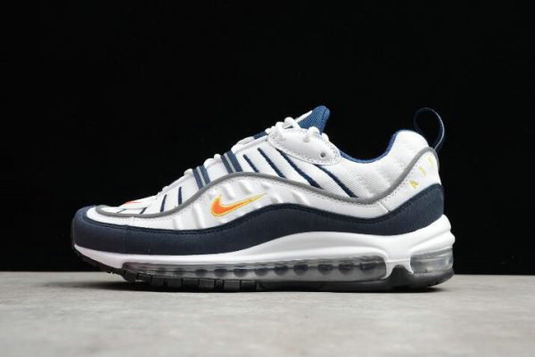 Cheap Mens Nike Air Max 98 OG White Blue Orange Metallic Silver 640744-104