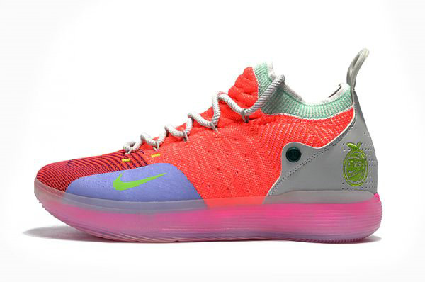 Cheap Mens Nike KD 11 Bright Crimson Orange Wolf Grey Chlorine Blue Pink Free Shipping