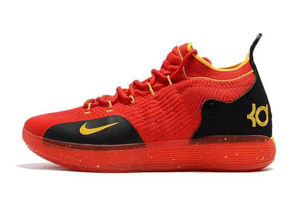 Cheap Mens Nike KD 11 University Red Black-Yellow Basketball Shoes
