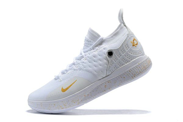 Cheap Mens Nike KD 11 White Metallic Gold Basketball Shoes On Sale