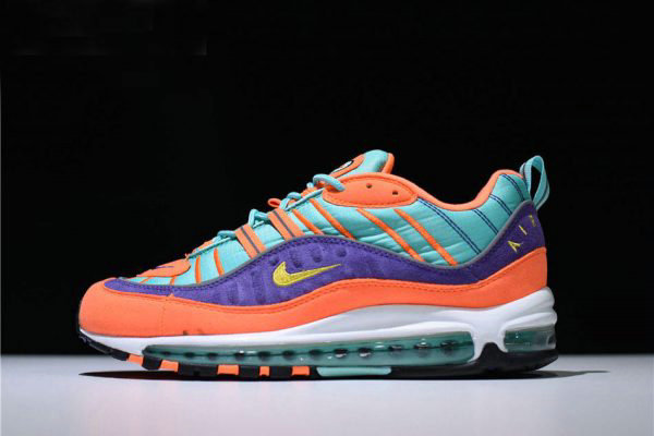 Cheap Mens and Womens Nike Air Max 98 QS Cone Tour Yellow-Hyper Grape 924462-800