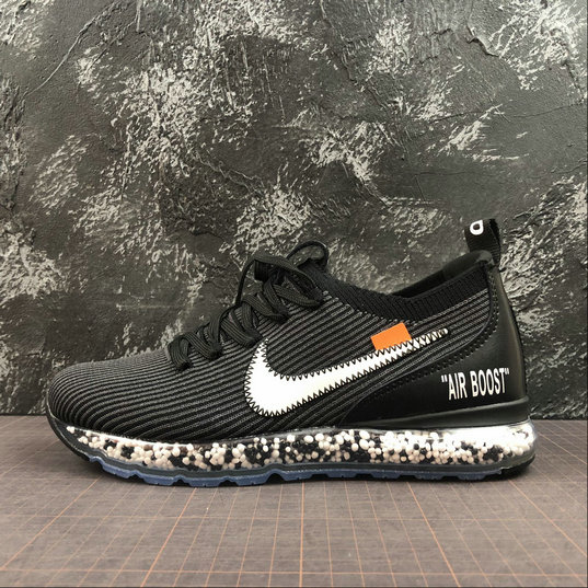Nike Air Boost Flyknit x Off-White Mens Womens Black White Dark Gray Noir Blanc Gris Fonce AJ6900-001