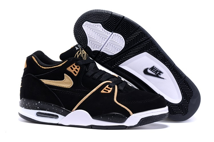 Nike Air Flight 89 Black Metallic Bronze-White Shoes For Sale