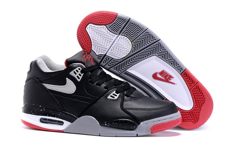 Nike Air Flight 89 Bred Black Cement Grey-Fire Red-White Shoes For Sale
