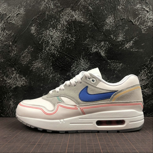 Nike Air Max 1 Centre Pompidou Mens Womens AV3735-002 Pure Platinum Royal Blue White Platine Pur Blanc