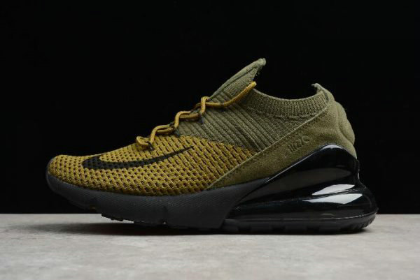 Cheap Nike Air Max 270 Flyknit Olive Black-Yellow Mens and Womens Size AO1023-003