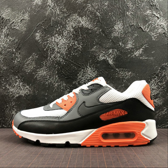 Nike Air Max 90 Essential 537384-128 White Black Orange Red Blanc Noir Orange Rouge