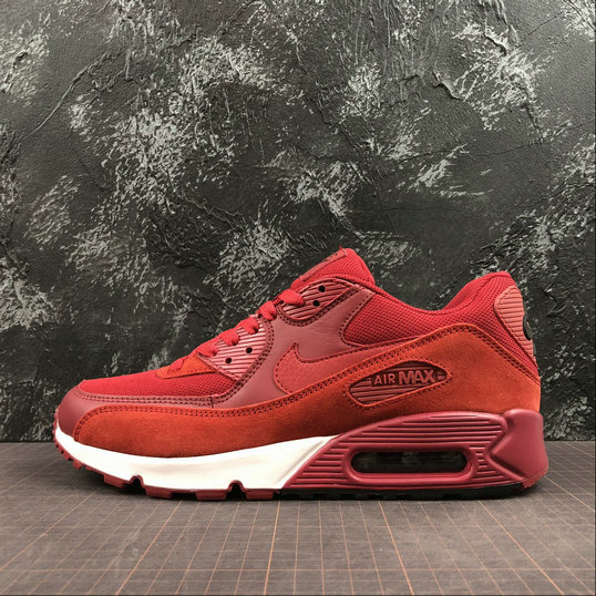 Nike Air Max 90 Essential 537384-604 Dark Red White Rouge Blanc