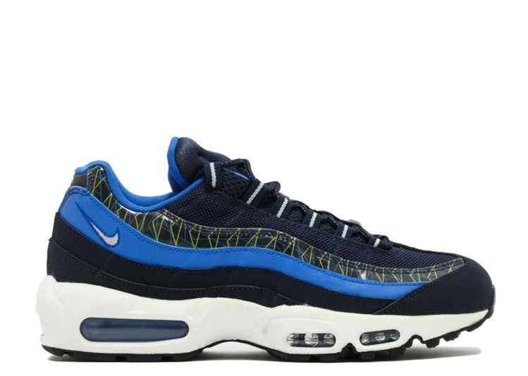 Cheap Nike Air Max 95 Premium 538416-443 Dark Obsidian Hyper Cobalt-Flash Lime-Metallic Silver
