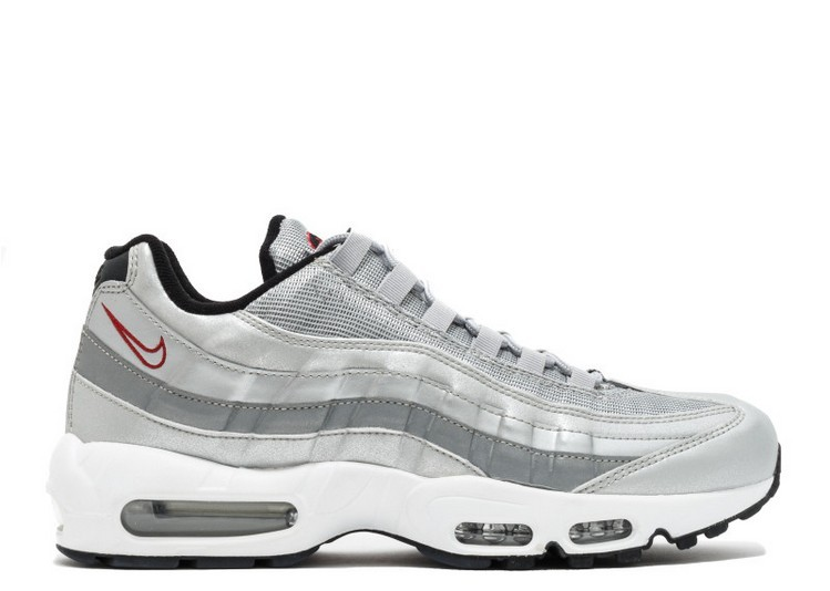 Cheap Nike Air Max 95 Premium Qs Silver Bullet 918359-001 Metallic Silver Varsity Red-White-Black