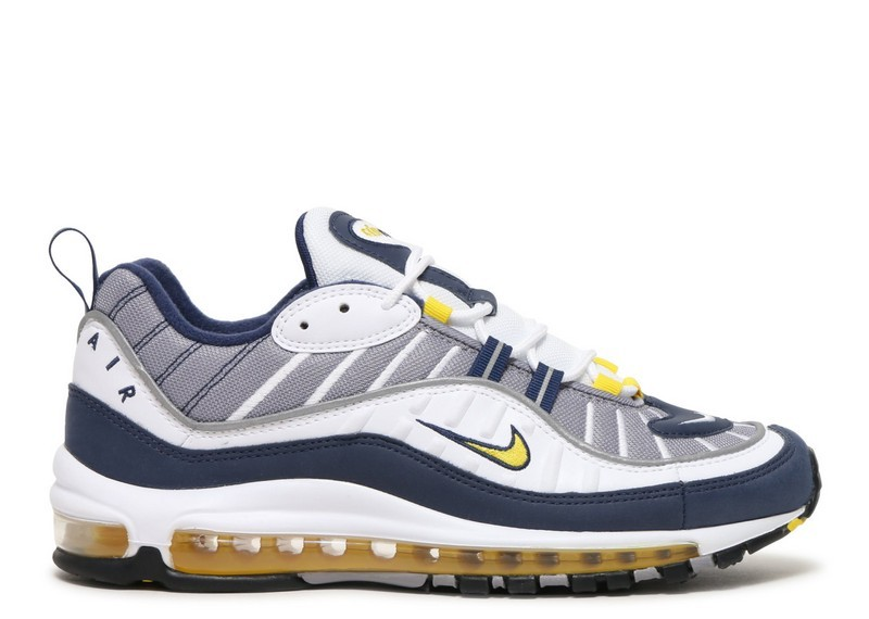 Cheap Nike Air Max 98 640744-105 White Tour Yellow Midnight Navy Cement Grey