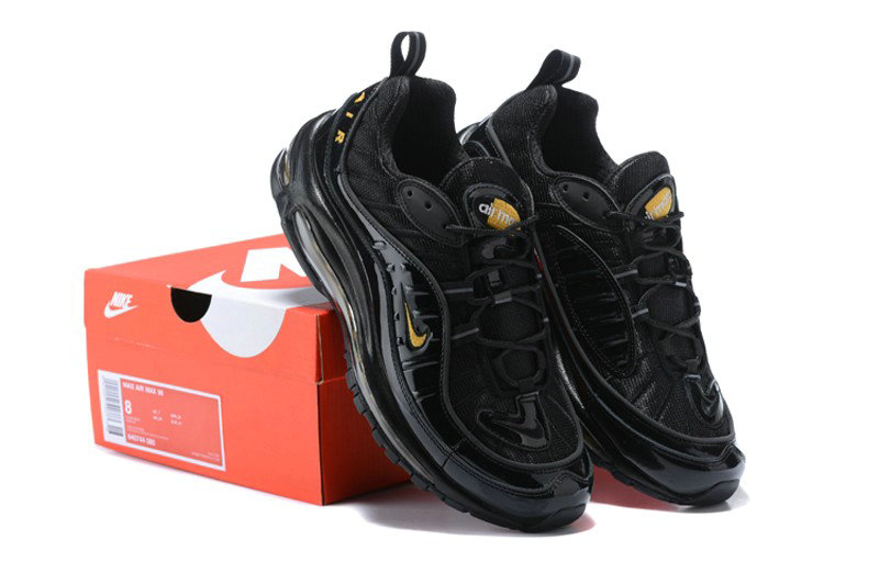 Nike Air Max 98 Black Gold Noir 640744 080