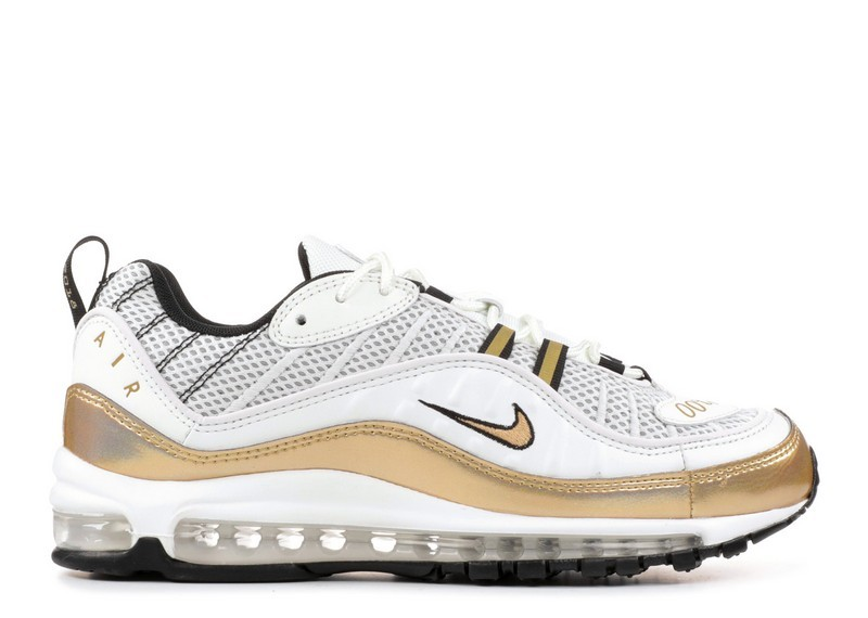 Cheap Nike Air Max 98 Uk Prime Meridian Aj6302-100 Summit White Metallic Gold
