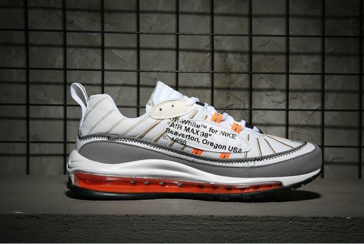 Nike Air Max 98 off-white Orange White Grey Come For Sale