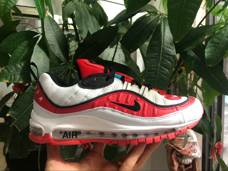 Nike Air Max 98 off-white University Red Black White Come For Sale