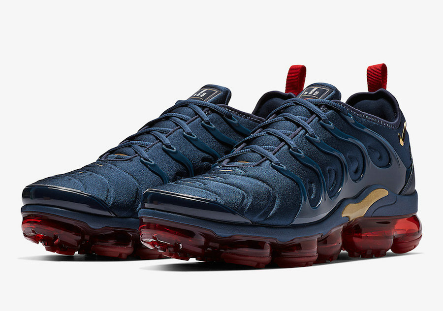 Nike Air VaporMax Plus Midnight Navy Metallic Gold-Black-University Red 924453-405