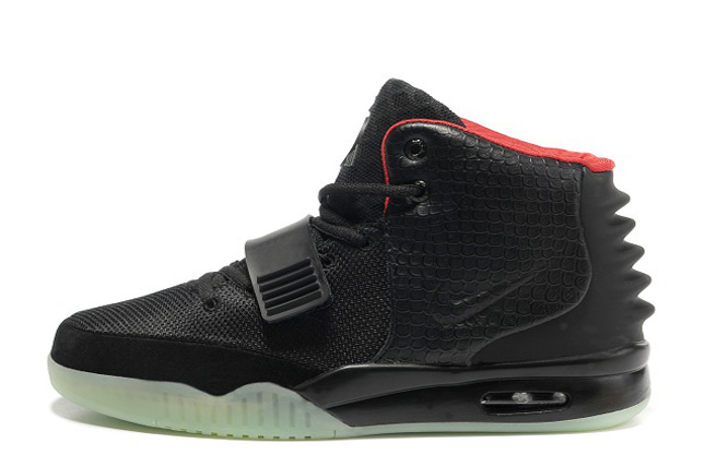 Nike Air Yeezy 2 Black Solar Red Glow in the Dark For Sale