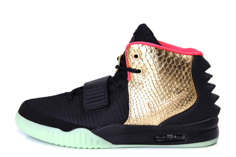 Nike Air Yeezy 2 Imperial Black Gold Glow in the Dark For Sale