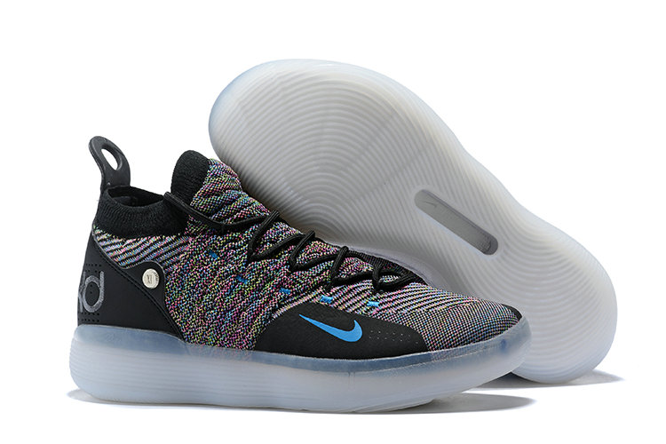 Cheap Nike KD 11 Multi-Color Flyknit AO2604-001 Black Persian Violet-Bright Crimson-Chlorine Blue