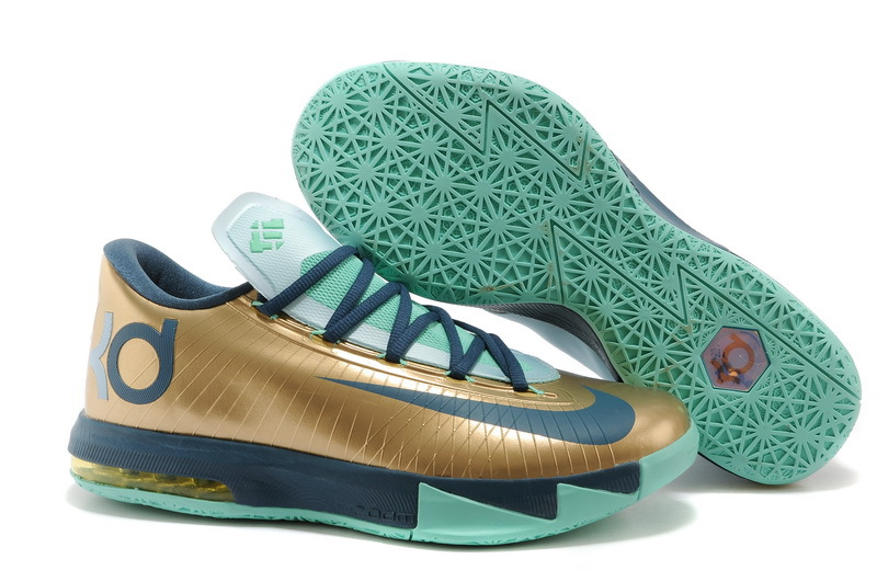 Nike Kevin Durant KD 6 VI 54 Points Gold Navy-Teal For Sale