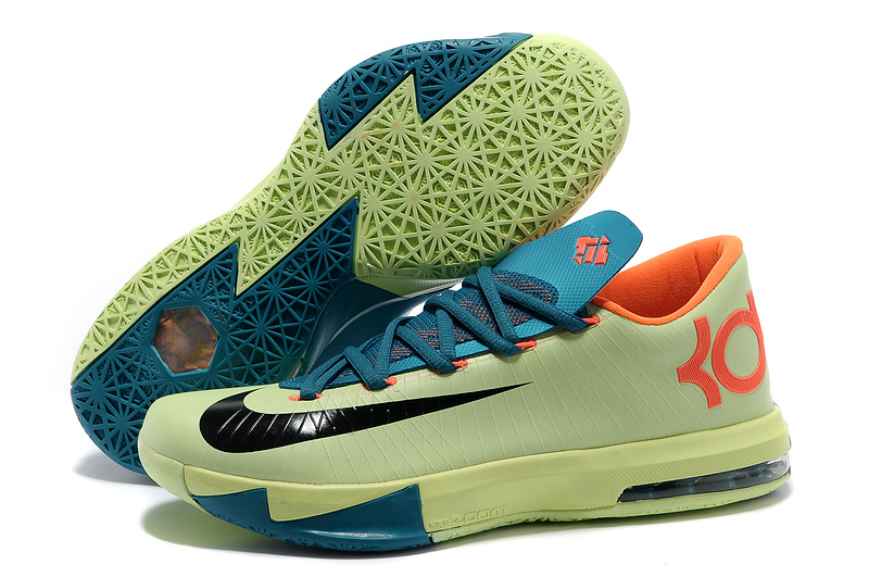 Nike Kevin Durant KD 6 VI Aqua Green-Orange Teal-Navy For Sale