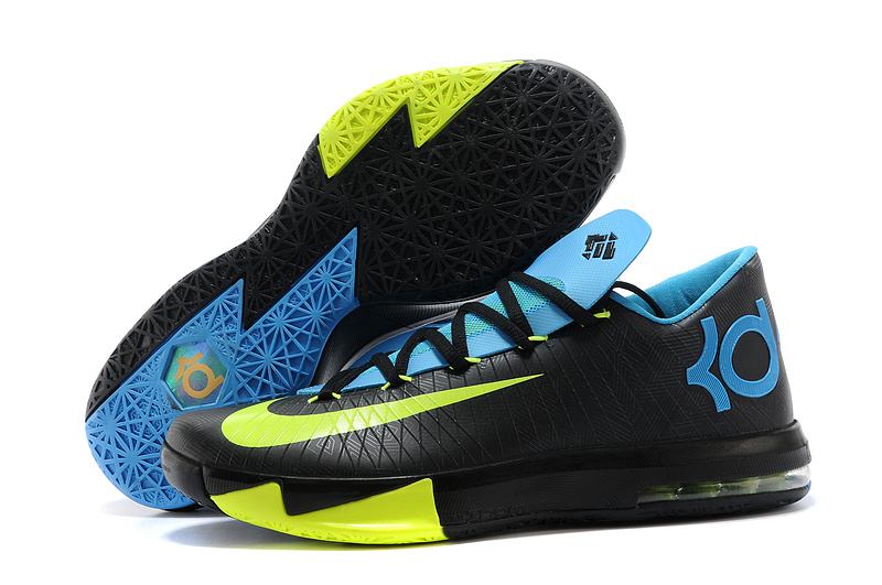 Nike Kevin Durant KD 6 VI Away II Black Volt-Vivid Blue-Dark Grey For Sale