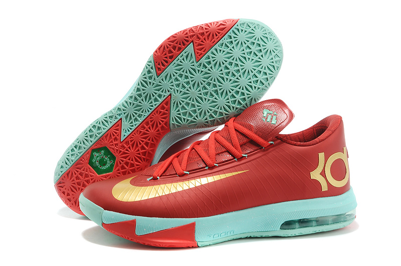 Nike Kevin Durant KD 6 VI Christmas Light Crimson Metallic Gold-Green Glow For Sale