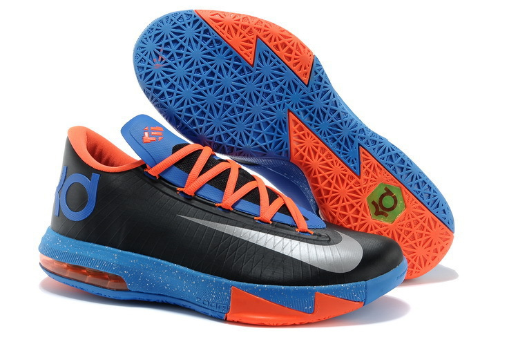 Nike Kevin Durant KD 6 VI OKC Away Black Metallic Silver-Team Orange-Photo Blue For Sale
