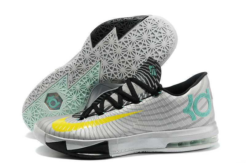 Nike Kevin Durant KD 6 VI Precision Timing Metallic Silver Yellow-Black-Arctic Green