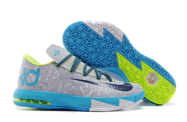 Nike Kevin Durant KD 6 VI Pure Platinum Night Factor-Vivid Blue-Volt For Sale