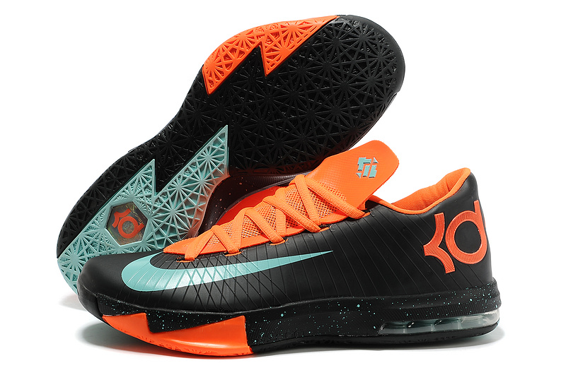 Nike Kevin Durant KD 6 VI Texas Black Green Glow-Urban Orange For Sale