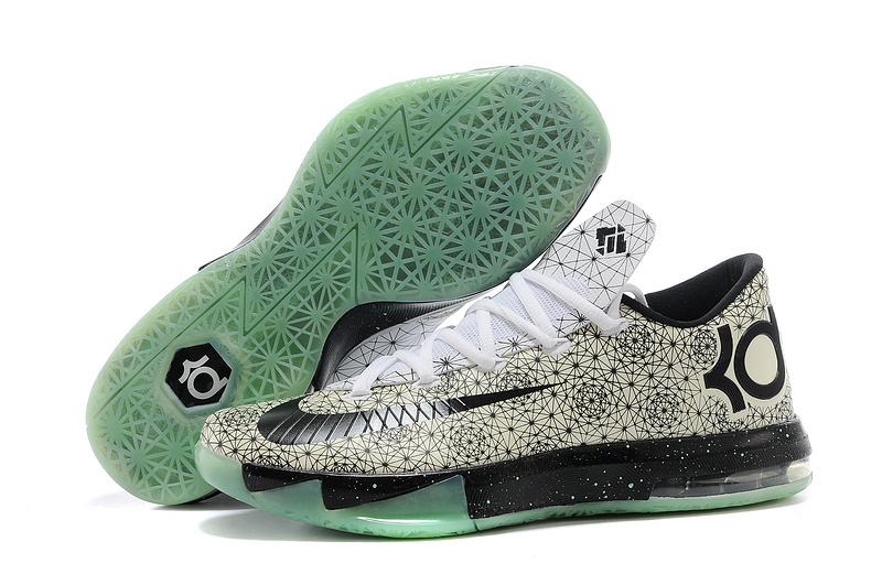 Nike Kevin Durant KD 6 VI White Pattern-Black Green Glow For Sale