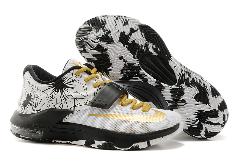 Nike Kevin Durant KD 7 VII Patterns White-Black Metallic Gold For Sale