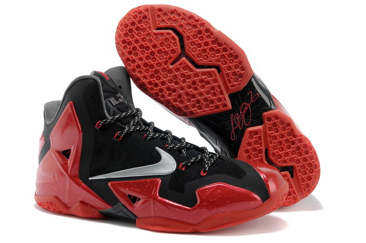 Nike LeBron 11 Away Black Metallic Silver-University Red-Bright Crimson-Dark Grey