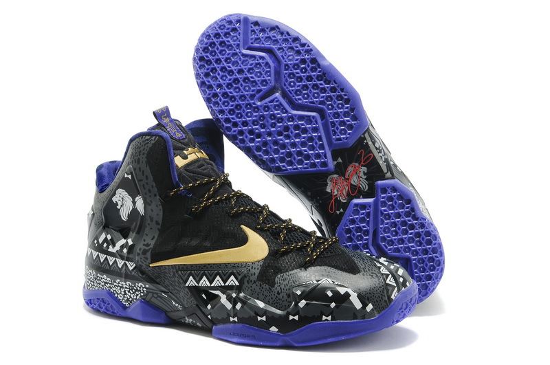 Nike LeBron 11 BHM Anthracite Metallic Gold-Purple Venom For Sale