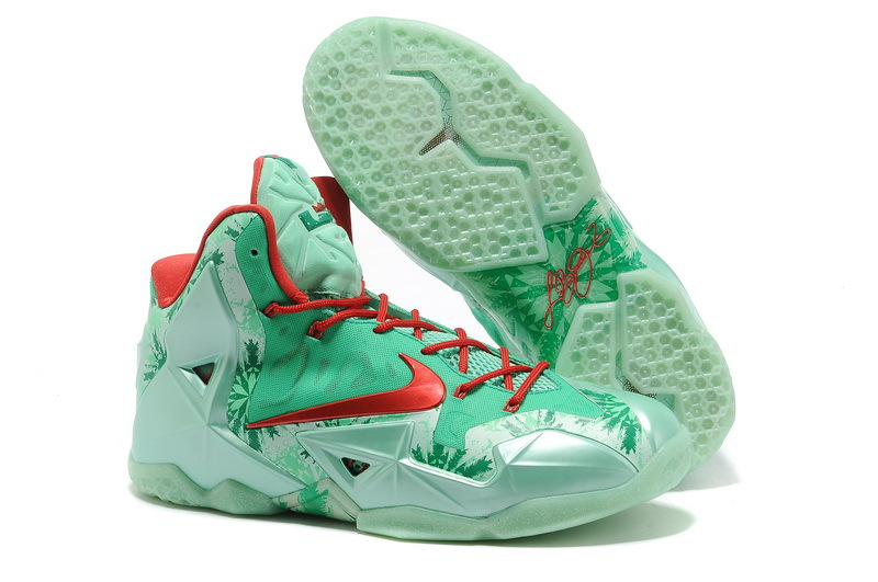 Nike LeBron 11 Christmas Green Glow Light Crimson-Arctic Green