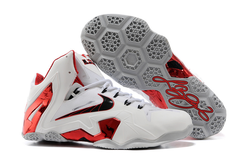 Nike LeBron 11 Elite Home PE White-Red Wolf Grey For Sale