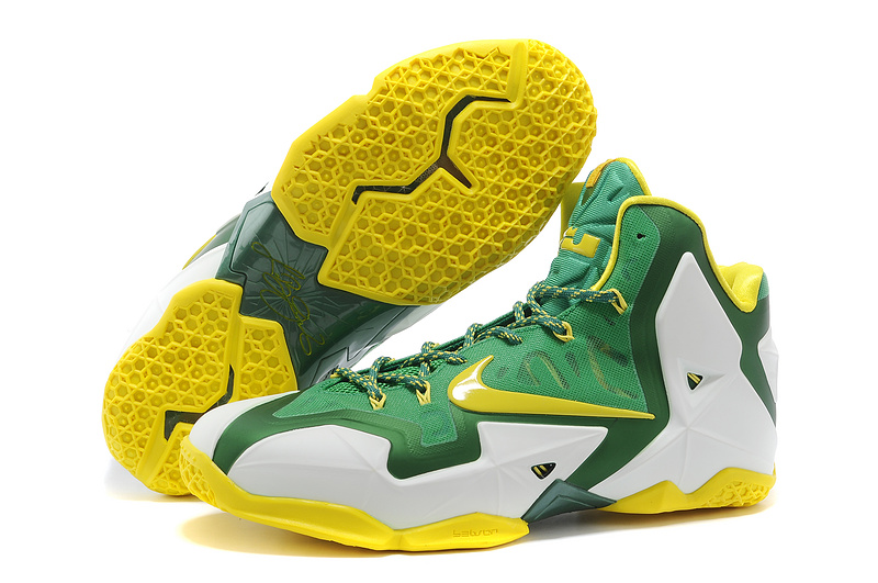 Nike LeBron 11 Oregon Ducks PE White-Pine Green Tour Yellow For Sale