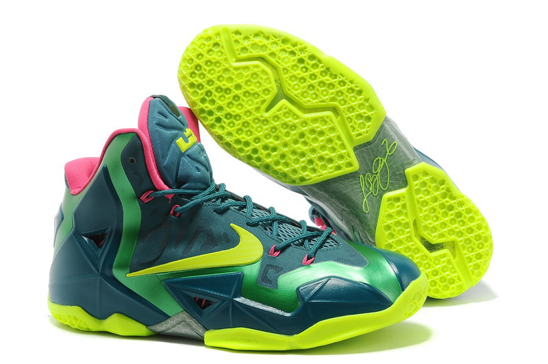 Nike LeBron 11 T-Rex Dark Sea Volt-Gamma Green For Sale