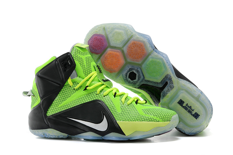 Nike LeBron 12 Neon Green Black-Silver For Sale