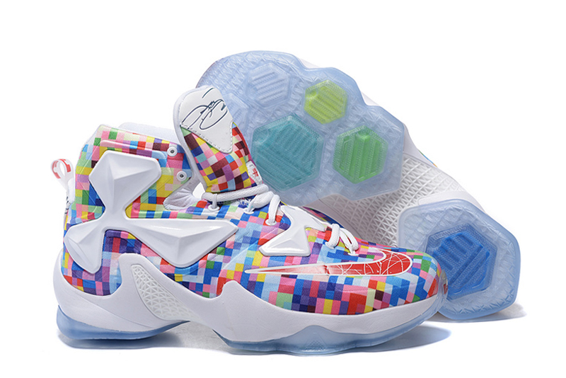 Nike LeBron 13 Prism Multi-Color University Red-White Basketball Shoes
