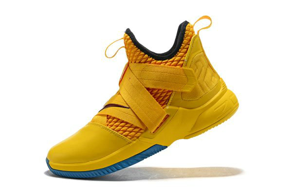 Cheap Nike LeBron Soldier 12 Cavs Yellow Black-Blue Mens Basketball Shoes