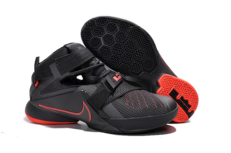 Nike LeBron Soldier 9 Black And Red Highlights Basketball Shoe