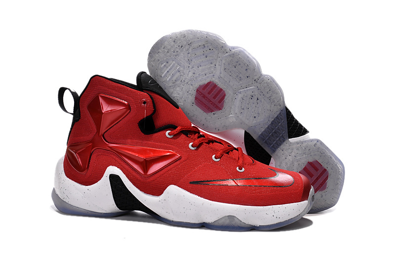 Nike Lebron 13 Gym Red Black White Men Basketball Shoes For Cheap