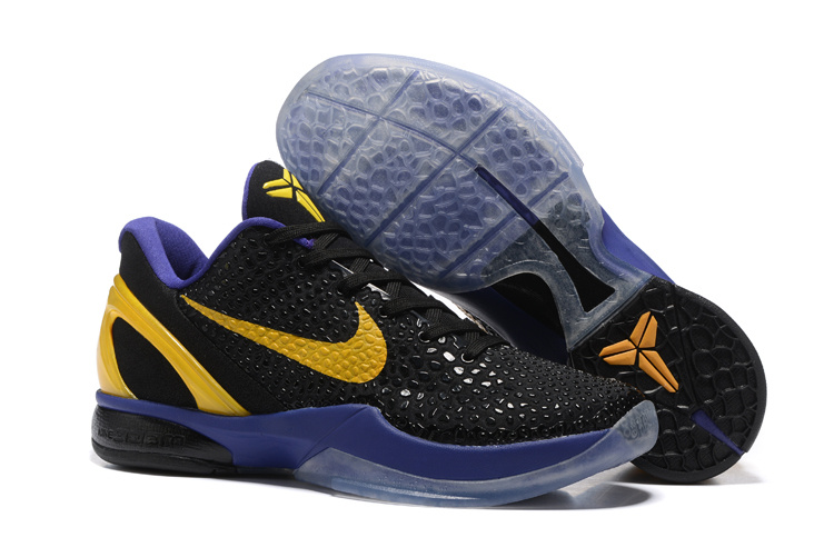 Nike Zoom Kobe 6 Black Purple Yellow Basketball Shoes
