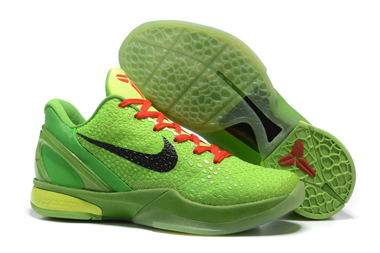 Nike Zoom Kobe 6 Grinch Christmas Green Mamba Basketball Shoes